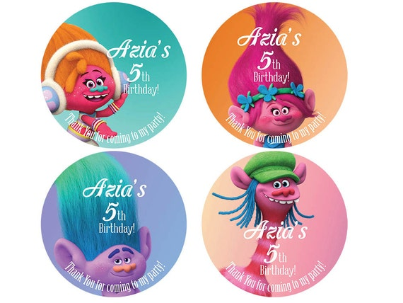 Trolls Hershey Kisses Personalized Stickers