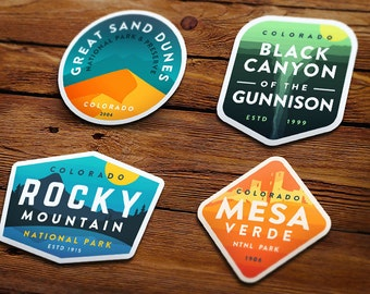Vinyl Stickers: Colorado 4 Pack - National Park Badge Series