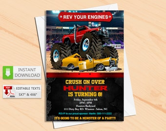 Printable invitation Monster truck in PDF with Editable Texts, Monster Truck party Invitation, edit and print yourself! Instant Download! N2