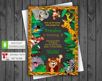Printable invitation Jungle, Safari in PDF with Editable Texts, Jungle, Safari party Invitation, edit and print yourself! Instant Download!