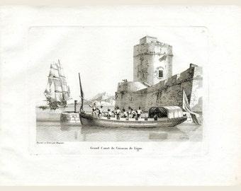 Ship Of The Line at Anchor - Napoleonic Maritime Ship Print - Printed 1814 - J.J. Baugean  Merchant & Military Ships - Maritime Engraving