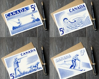 Set of 4 Canadian Outdoor Sports cards! Save 20%! Canadian greeting card set, Canada Day party invititations, Canada 150
