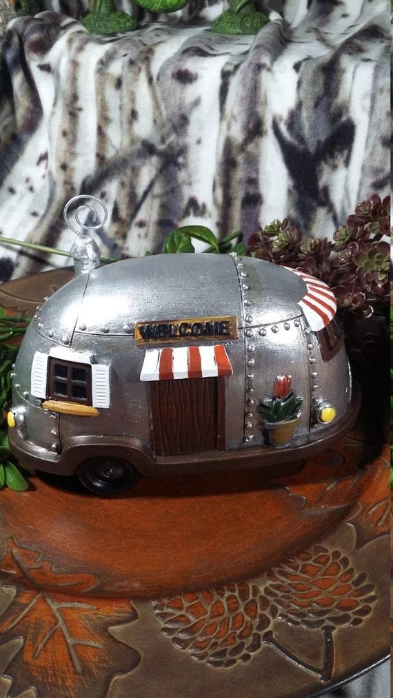 Fairy Garden Miniature Vintage Trailer Camper, Fairy