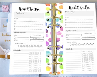 Personal Daily Health Tracker - Printable Organiser Planner Inserts -  Rainbow Watercolour - Filofax Personal or Kikki K Medium