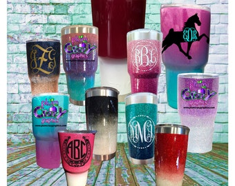 Glitter Stainless Steel Tumblers Yeti Ozark Trail  RTIC with Lid Custom and Personalized Any Horse Breed  Decal or Lettering Included