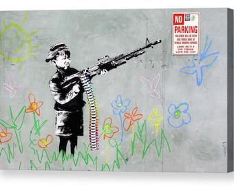 "Banksy ""Boy with Machine Gun, No Parking"" Canvas Box Art A4, A3, A2, A1 ++"