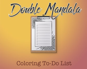 Double Mandala Coloring Page with To-Do Checklist