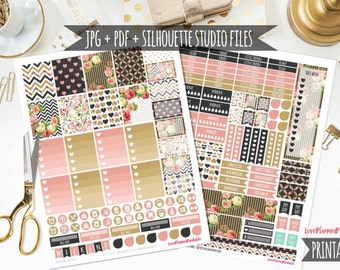 50% MEGA SALE!! Black Gold Vintage Roses Digital Printable Planner Stickers Weekly Planner Stickers Vertical Planner Digital Planner Floral