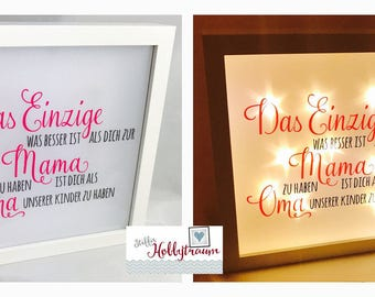 Bright-line frame, light frame, Shadowbox, Sternrnfolie 'better than you as a MOM' pink-anthracite