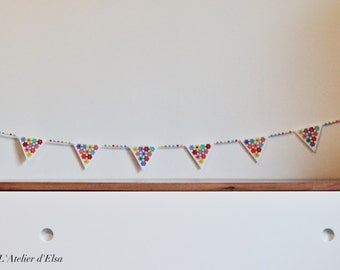 Mini Bunting Garland beads HAMA flowers - Garland HAMA beads Flowers Pattern