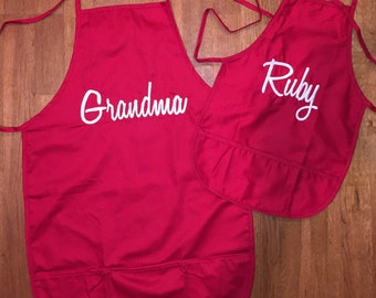 Adult and Child Apron Set. Will be customized to your liking.