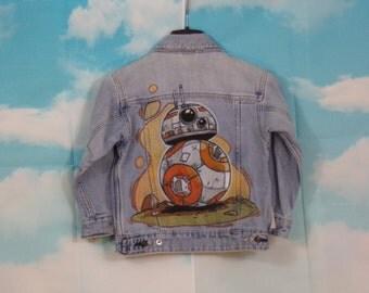 Veste jean Kid bleu clair, veste en jean Motif BB8 Droid peint main Taille 5 ans