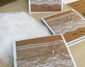 Lace Wedding Invitations, Kraft Wedding Invites, Lace Wedding Invitation, Wedding Invitations Lace, Kraft White Invitation, 1 INVITATION