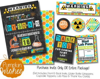 Mad Scientist Party/Mad Scientist Invitations/Mad Scientist Birthday/Science Birthday/Boy Birthday/Radioactive Party/Nerd Party - PRINTABLES