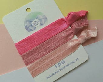 Hair ties, yoga bands, wristbands, rose pink, raspberry, light pink,ponytail holders, pack of 3, uk seller