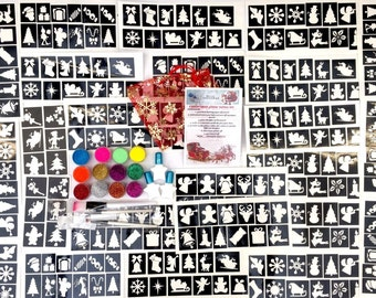 Glitter tattoo kit boy girl CHRISTMAS 300 stencils 12 holographic neon  glitters 3 glue brushes   PROFESSIONAL QUAL Beautifully presented