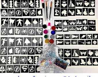 GLITTER TATTOO KIT Princess superhero 120 stencils 8 glitters glue brushes