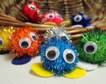 30 Glittery Adhesive Warm Fuzzies / Bright Sparkle Pom Pom Critters - 1 inch