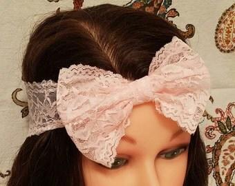Lace Bow - Light Pink - Headband