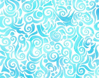 Quilting Treasures - Jewels of the Sea - Teal Swirls - Fabric