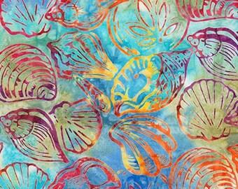 Robert Kaufman - Totally Tropical 5 - Rainbow - Shells -  Batik AMD-16121-263 - Multi Colored -  Fabric by Yard