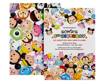Tsum Tsum Invitation, Tsum Birthday Party, Disney Cartoon, Personalized, Printable, Digital File