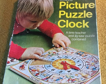 Vintage 1970s wooden puzzle clock by Victory