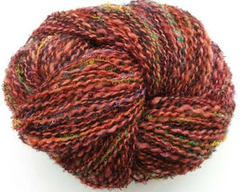 Red wool art yarn, knitting yarn, crochet yarn, weaving yarn, mohair yarn, hand dyed yarn, handspun yarn