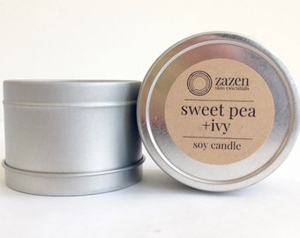 Soy Candle [Sweet Pea+Ivy] • all natural • handcrafted • home spa • relax
