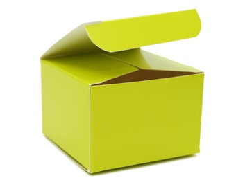 Lime Green Box, 3x3x2, 10 Party Favor Boxes, 1st Birthday Party Favors, Frog Party Decor, Wedding Favor Box, Baby Shower Favor, Jungle Party