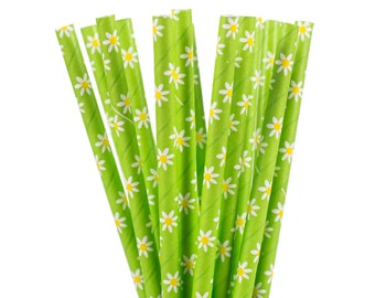 Paper Straws, Lime Green with White Daisy Paper Straws, Garden Tea Party Straws, Baby Shower Supplies, Bridal Shower Brunch, First Birthday