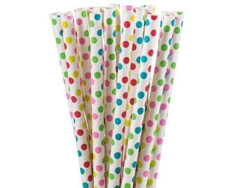 Paper Straws, Rainbow Polka Dot Paper Straws, Rainbow Party Supplies, St. Patrick's Day Party Straws, First Birthday Party, Tea Party Straws