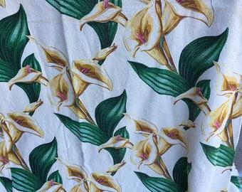 Vintage Mid-Century Barkcloth Calla Lilies Ivory Yellow Green