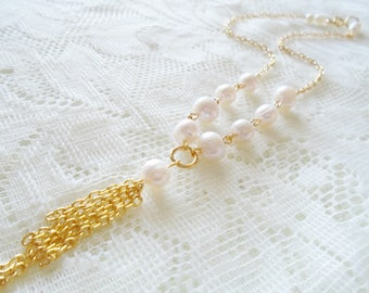 Freshwater pearl gold plated necklace, Gold plated tassel necklace, Wedding necklace, Bridesmaids necklace