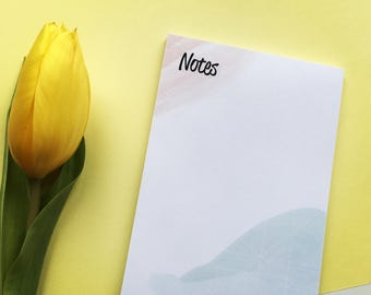 Notepad, To Do List Notepad, Daily Notepad, checklist, geometric, coral, baby blue, block note