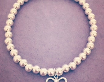 Sterling Silver Big Bead Bow Bracelet