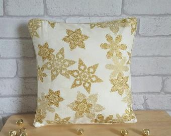 Gold Snowflake Pillow~Metallic Snowflake Cushion~Christmas Decor~Holidays Pillow~Snowflake Throw Pillow~Snowflake Decorations~Christmas