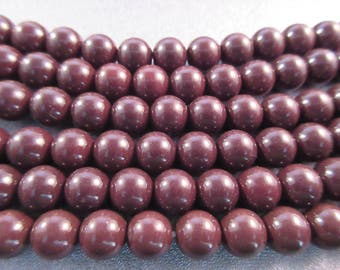 Glass Pearl Dark Chocolate 8mm round 53pcs