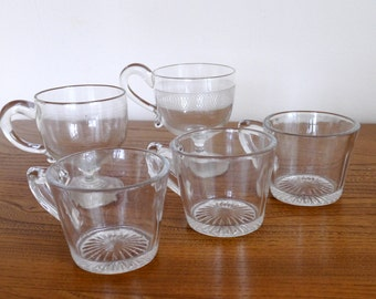 5 x Pall Mall Lady Hamilton custard or toddy cups, glasses