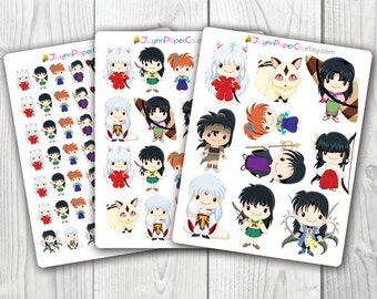 InuYasha Stickers, Kawaii, Cute Stickers, Planner Stickers, Pretty,  Erin Condren, ECLP, Anime, Manga
