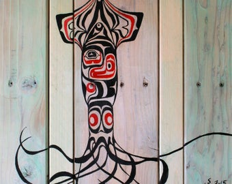 Squid Painting - Animal Art, Home Wall Decor, Wood Painting, Made by Northwest Artist