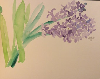 Original watercolor of Purple Hyacinth. Painted on Arches 9x12 cold pressed artists watercolor paper.