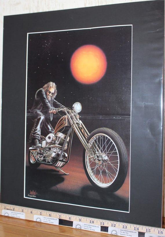 """David Mann """"Kickstart'' 16'' x 20'' Matted Motorcycle Biker Art #7905ezrxmb"""