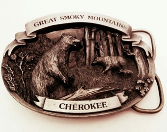 VINTAGE 1986 *Great Smokey Mountains* Pewter Finish Belt Buckle - Cherokee