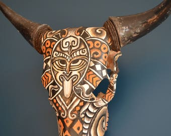 Beautiful painted cow skull