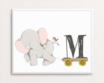 Nursery Monogram, CUSTOM Monogram Print, Nursery Initial, Baby Boy Nursery, Girl's Nursery Print, Boy's Monogram, Elephant Monogram, Drawing