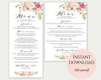 Wedding Menu Template, 5x7, 4x9, Wedding Menu Cards, Menu Cards, Editable Menu, Menu Card Template, Floral Menu, Party Menu, Printable Menu