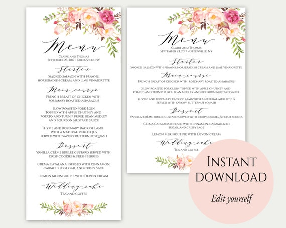 Wedding Menu Template 5X7 4X9 Wedding Menu Cards Menu