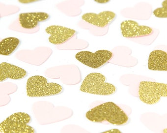Pink and gold heart confetti. Confetti. First birthday party. 1st birthday girl. Heart confetti.