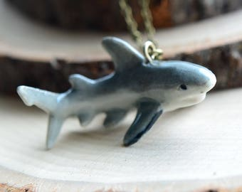 Hand Painted Porcelain Great White Shark Necklace, Antique Bronze Chain, Vintage Style, Ceramic Animal Pendant & Chain (CA096)